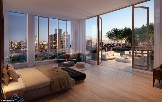 The penthouse at The Tower at Gramercy Square features five bedrooms and six and a half bathrooms across 6,989-sq-ft
