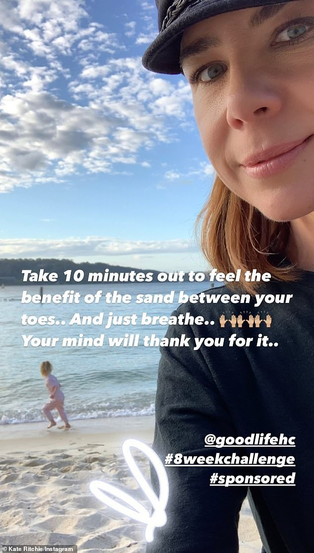 Beach day:In February, Kate shared a glimpse of a beach outing on Instagram, posting a photo of herself with her little girl running along the shore in the background