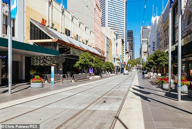Melbourne's Bourke Street was deserted on Wednesday with residents ordered to stay home under tough stage four lockdown restrictions