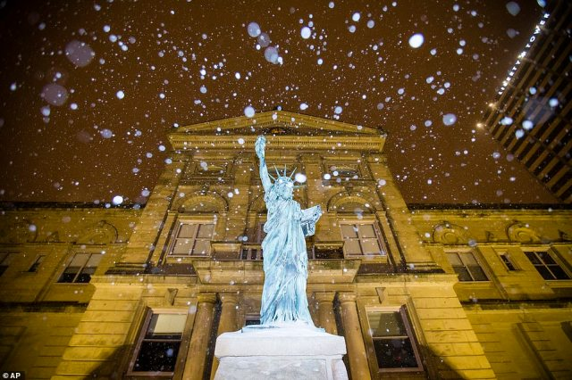 INDIANA: The courthouse in South Bend is seen above as snow began falling on Monday night