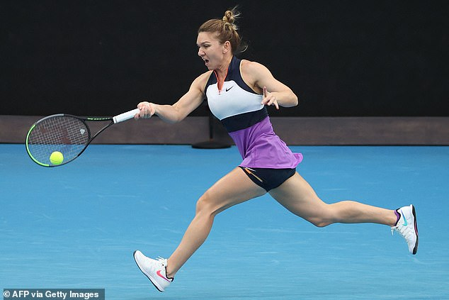 Romania's Simona Halep hits a return against Serena Williams of the US during their women's singles quarter-final match