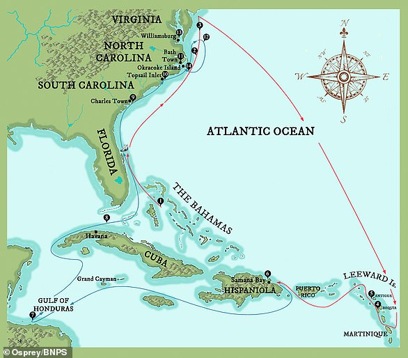 Routes taken by the pirate 'Blackbeard', probably the most fearsome of all. His route spanned the US and the Caribbean.Piracy can be traced back to Roman times, with the capture of Julius Caesar by Cilician pirates in 75BC, who held him for ransom