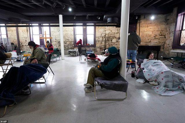 San Antonio, Texas: People seeking shelter gather at a make-shift warming shelter at Travis Park Methodist Church, Tuesday