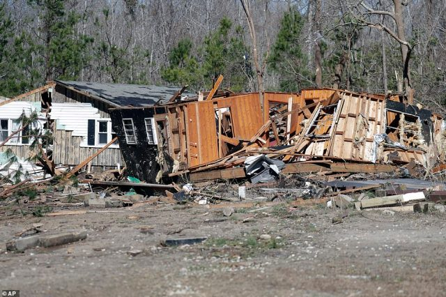 Some homes were left barely standing after a strong tornado ripped off roofs and decimated others late Monday night