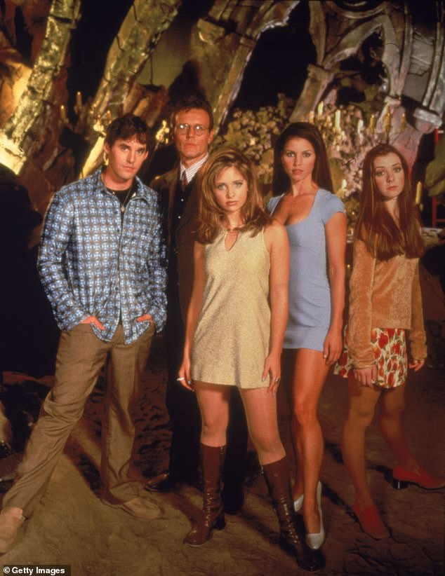 Support: After sharing the details of his freak accident, Brendon briefly touched on the allegations his former co-star Charisma Carpenter made against Whedon last week, stressing that he 'supports CC 100%' and 'loves [her] very much'; Nicholas Brendon, Anthony Head, Sarah Michelle Gellar, Charisma Carpenter and Alyson Hannigan pictured for Buffy (1997)