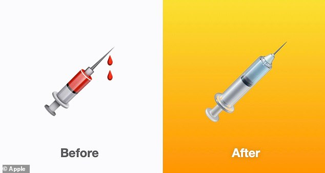 Apple's redesigned syringe emoji, which makes it more applicable for the current rollout of Covid-19 vaccines