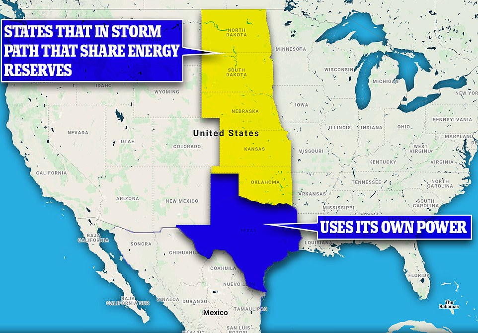 Texas uses its own power grid and has done since the 1970s. The energy-rich state wanted to use its own resources but also sit beyond federal energy regulation. Other states to the north of it share resources. Oklahoma has been just as affected by Winter Storm Uri but because it pools resources with neighboring states, it hasn't run out of power