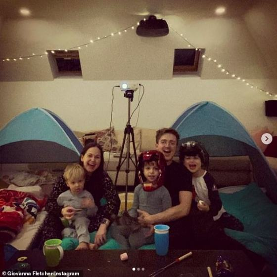Family Overnight: Giovanna shared a sweet family kick as they celebrated their son Buddy's fifth birthday by setting up a tent