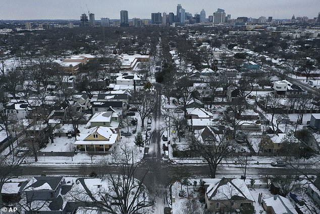 There are more than two million Texans without power and although wind accounted for some 13 percent of the share, it is a major resource – it supplied 23 percent of Texas' electricity in 2020. Pictured is a neighborhood in East Austin
