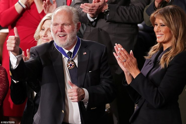 In honoring Limbaugh at the State of the Union, Trump called his friend 'a special man beloved by millions'