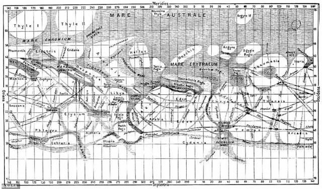 In 1887, Giovanni Schiaparelli, who was the director of the Brera Observatory in Milan, began mapping and naming areas on Mars. He saw ¿seas¿ and ¿continents¿ across the mysterious world, along with channels he called ¿canals.¿ Schiaparelli colored areas he believed held water in blue and labeled features on planet after places in Mediterranean mythologies
