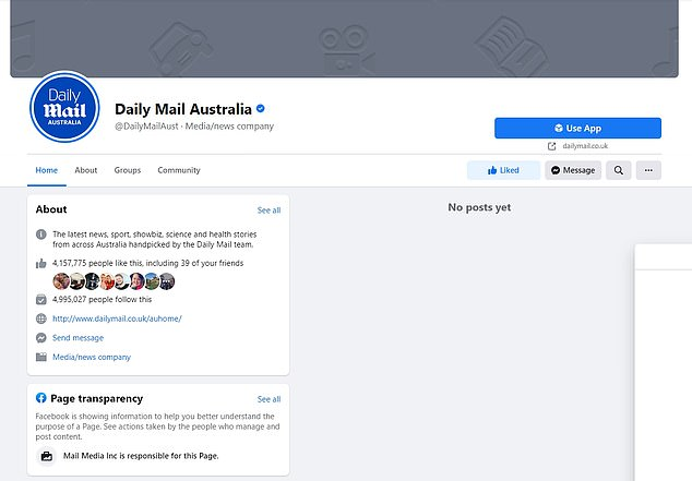 The decision means Daily Mail Australia's nearly five million followers can no longer access our news content on Facebook