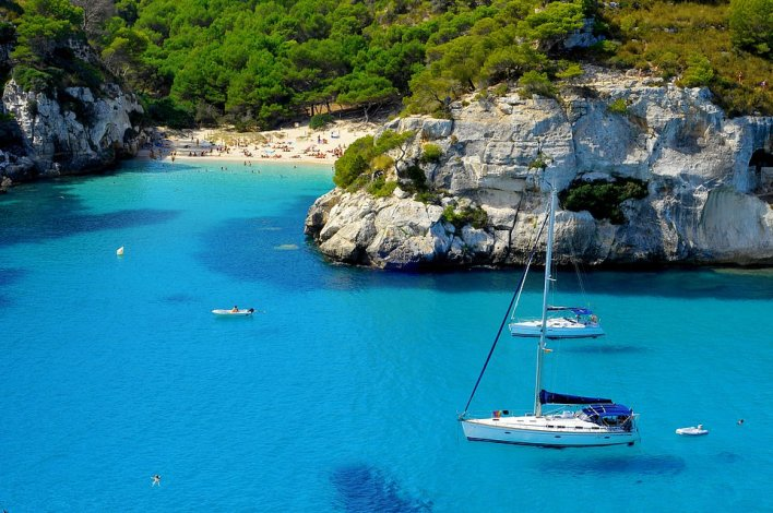 Calming waters: Take an island-hopping trip and drop anchor off Minorca on a week-long holiday sailing around the Balearic Islands