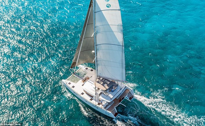 You can sail on this Lagoon 52F catamaran on a one-week luxury SailSterling Wine & Catamaran Club cruise of the spectacular volcanic Aeolian Islands in Italy