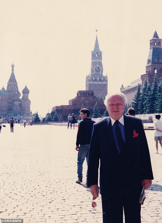 Due to the sensitive nature of the mission and his work, his awards were kept secret. Pictured: Jim Fees pictured in Moscow
