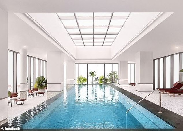 Bosses at the hotel they were told that staff had not pulled down the blinds 'by mistake'. Pictured: A swimming pool inside the hotel