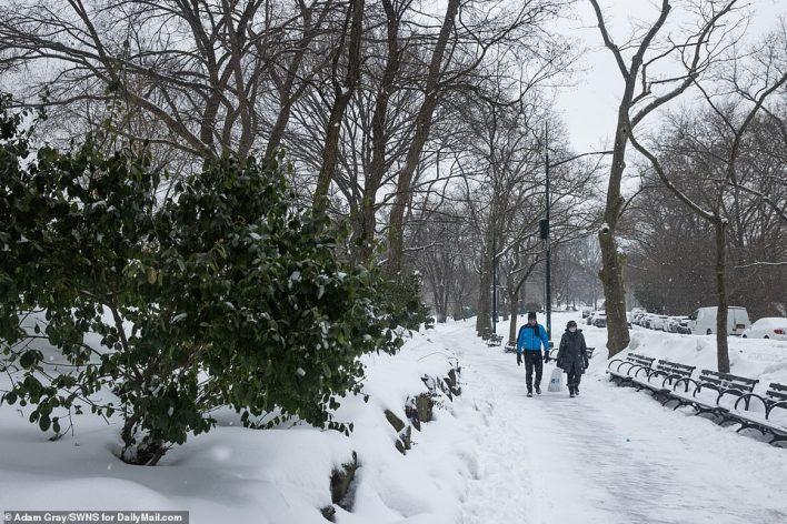 MANHATTAN, NEW YORK: New Yorkers walk through Central Park amid a snow storm on Thursday