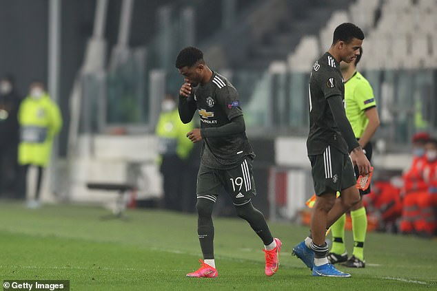 The teenager came on as a late sub for Mason Greenwood during the Europa League clash