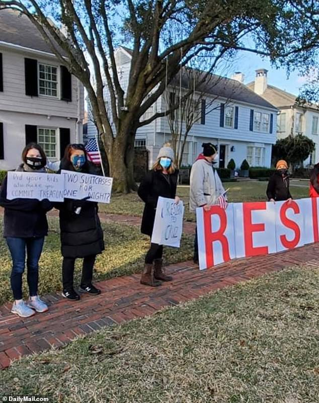 Protesters waited for Cruz outside his home on Thursday afternoon as he arrived home, less than 24 hours after leaving