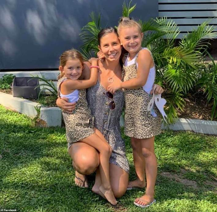 Hannah Clarke is pictured with her two daughters Aaliyah, six, and Laianah, four