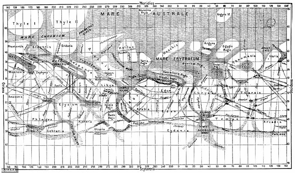 In 1887, Giovanni Schiaparelli, who was the director of the Brera Observatory in Milan, began mapping and naming areas on Mars. He saw 'seas' and 'continents' across the mysterious world, along with channels he called 'canals.' Schiaparelli colored areas he believed held water in blue and labeled features on planet after places in Mediterranean mythologies