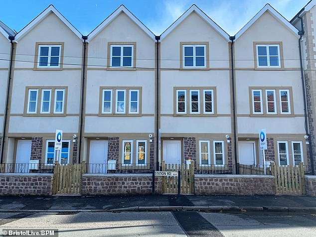 Spot the problem? One of the new three-bedroom terraced houses in Shirehampton, Bristol, has been built in front of an exisiting street sign