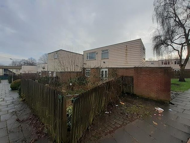 Fencing around the garden is in need of replacing as two panels are tied together to keep them standing. The property goes under the hammer on Tuesday