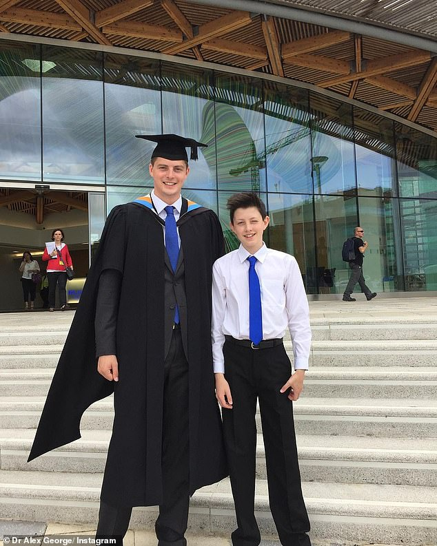 Siblings: Dr Alex paid tribute to his late brother Llŷr for what would be his 20th birthday on Instagram on Friday (pictured together at Alex's graduation ceremony when Llr was 14)