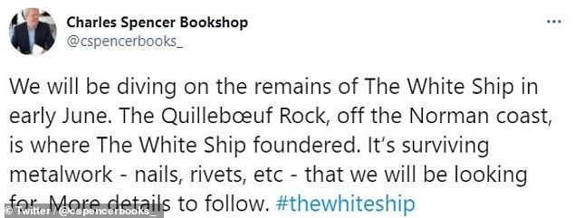 The tweet announcing the dive on the wreck site read: 'We will be diving on the remains of The White Ship in early June. The Quillebœuf Rock, off the Norman coast, is where The White Ship foundered. 'It's surviving metalwork - nails, rivets, etc - that we will be looking for. More details to follow'