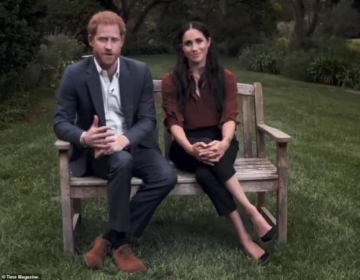 Prince Harry and Meghan speak from the garden of their £11million home in Montecito, California, last September