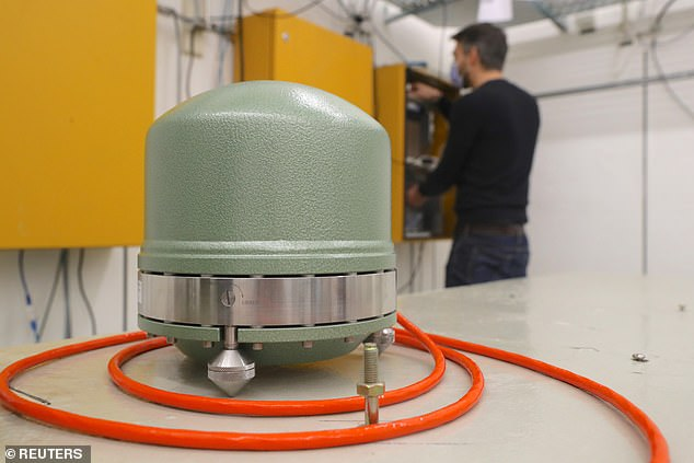 A Streckeisen broadband seismometer is seen at the seismic observatory Degenried of the Swiss Seismological Service (SED) at ETH Zurich in Switzerland