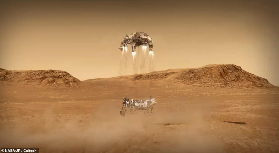 The final stage of the landing saw the rocket-powered craft carry out the same maneuver as Curiosity in 2012 using the sky crane. Nylon cords lowered Perseverance 25 feet below and after it touched down on the Martian surface, the cords detached and the sky crane flew away
