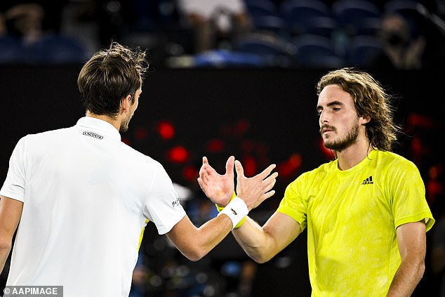 Daniil Medvedev of Russia (pictured above right) is congratulated by Stefanos Tsitsipas of Greece after their semi-final on Friday