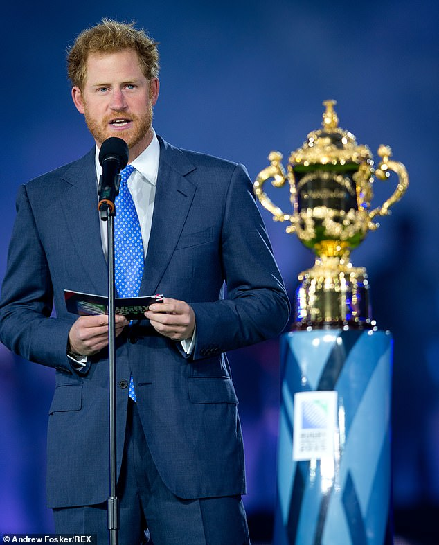 Pictured: Prince Harry gives the opening speech at the Rugby World Cup in 2015