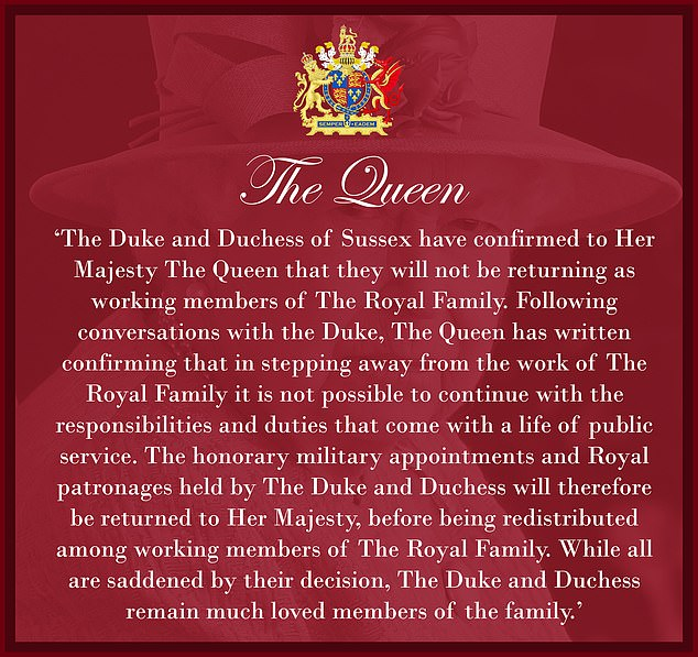 The Duke and Duchess of Sussex have told the Queen they will not be returning to frontline duties following their year outside the Firm. Pictured: The Buckingham Palace statement