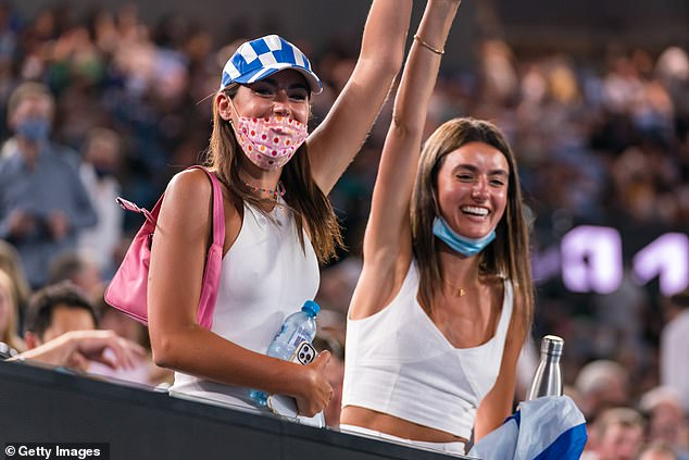 Fans show their support of Stefanos Tsitsipas of Greece in his Men's Singles Semifinals match against Daniil Medvedev of Russia