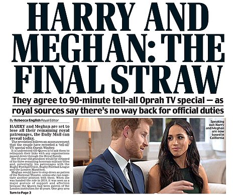 The Mail broke the story first: The Mail's front page on Tuesday
