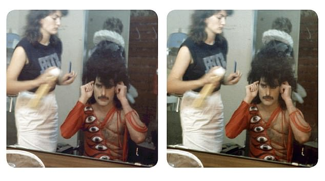 Pictured: Freddie Mercury in the dressing room getting a wig fitted on the shoot for It's A Hard Life in 1984