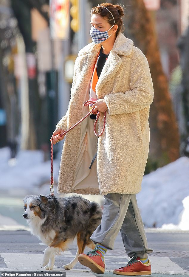Canine company:The 52-year-old Danish supermodel, who first became a star as a Victoria's Secret Angel, brought her beloved Australian shepherd Kuma