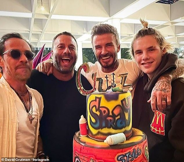 Flouting the rules? David Beckham marked Cruz's 16th birthday at a Miami restaurant over the weekend - but appeared to disregard coronavirus guidelines (pictured with Marc Anthony and Dave Grutman)