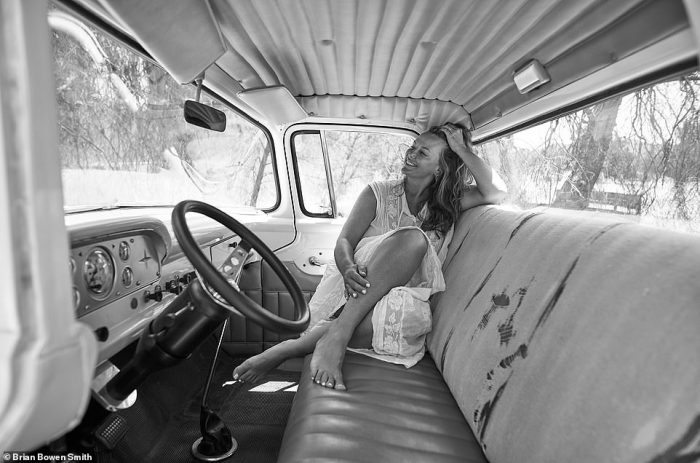 'My beautiful wife - the only photo taken in the interior of the truck. Without all her help and support I doubt this book would ever be made. That included packaging, shipping, taking orders - she did it all. I love this woman' - BBS