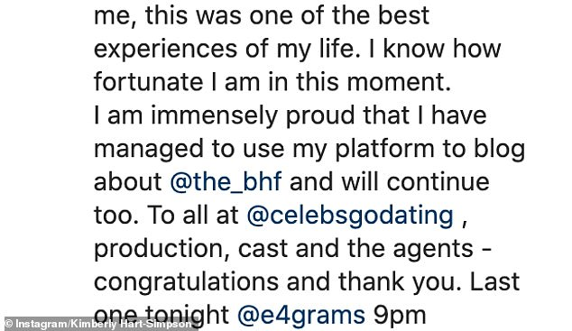 Honest: Sharing a heartfelt post on social media, she referred to her journey on the show as 'humbling' and 'eye opening'