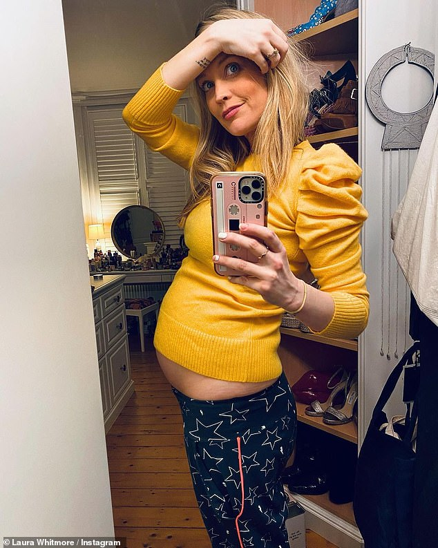 Keeping  mum: Ahead of her pregnancy announcement, Laura Whitmore reveals she had to hide her baby news from her Celebrity Juice pals as they were busy 'getting drunk' around her