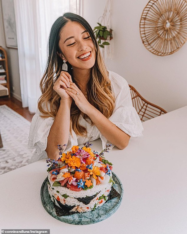 Connie Cao, from Melbourne, celebrated her birthday with a homemade sushi cake