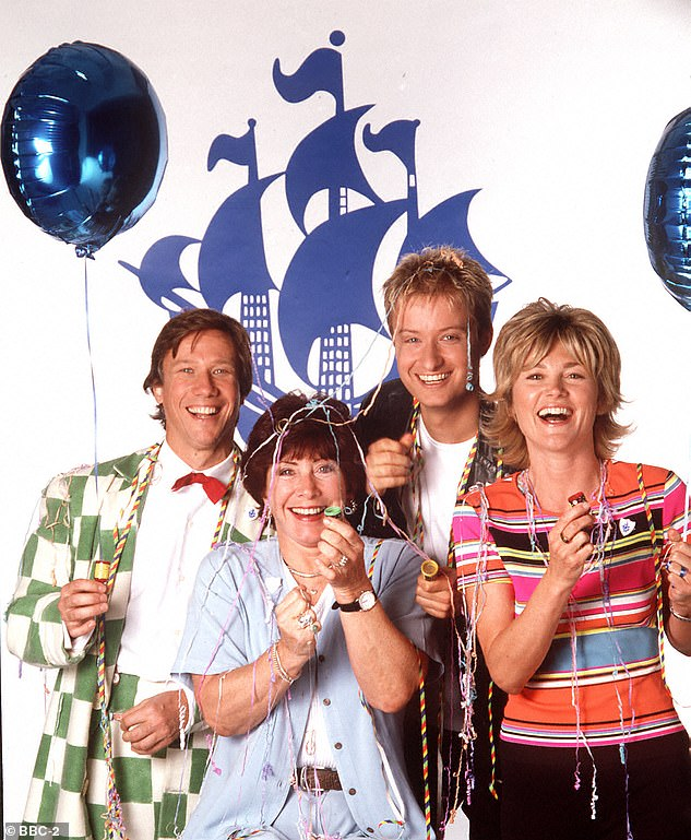 Throwback: Anthea is known for her stint presenting Blue Peter and was famous for her making segments (pictured L-R:Peter Duncan, Valerie Singleton, Stuart Miles and Anthea in 1998)