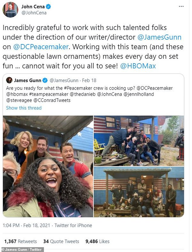 The WWE superstar-turned-Hollywood action hero earlier posted he was 'incredibly grateful to work with such talented folks' on the production