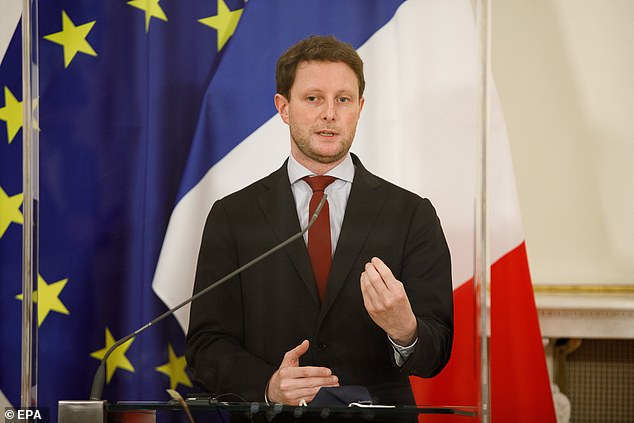 Also now looking foolish is France's Europe Minister, Clément Beaune (pictured), who said the EU had 'nothing to envy' from nations such as the UK and Israel