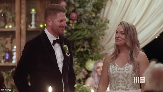 "Love at first sight: Bryce told his bride he was instantly attracted to her, saying: 'When I turned around, the nerves went straight away so I was like, ""You're here and look how lucky I am here""'"