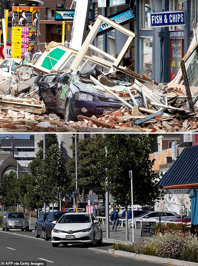 The magnitude 6.3 earthquake caused widespread destruction across the city. This photo shows Manchester street following the quake, and the same area nearly 10 years later