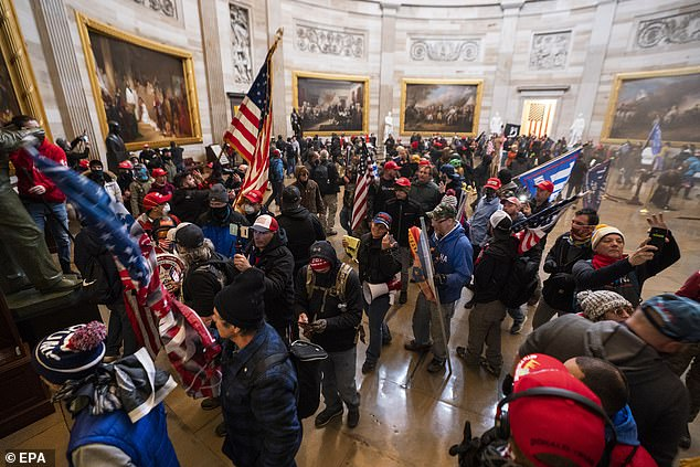 Rioters coordinated their attack on the Capitol in January on social media (file photo)
